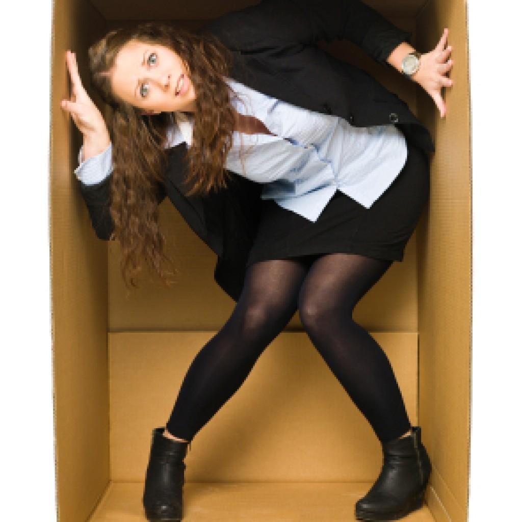 Woman too big for a cardboard box
